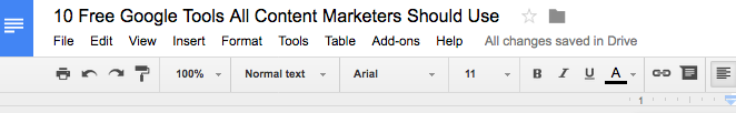 google tools use google doc for content marketing